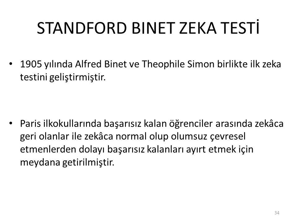 STANDFORD BINET ZEKA TESTİ 1905 yılında Alfred Binet ve Theophile Simon birlikte ilk zeka testini geliştirmiştir.