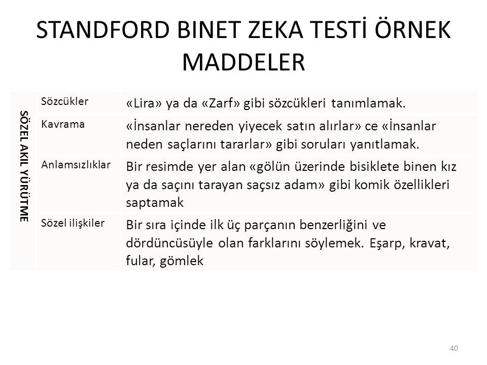 STANDFORD BINET ZEKA TESTİ ÖRNEK MADDELER SÖZEL AKIL YÜRÜTME Sözcükler «Lira» ya da «Zarf» gibi sözcükleri tanımlamak.