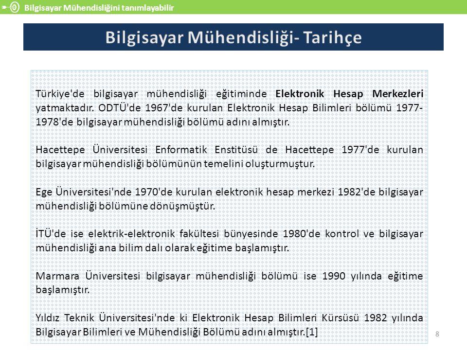 Bilgisayar Mühendisliğini tanımlayabilir 8 Türkiye'de bilgisayar mühendisliği eğitiminde Elektronik Hesap Merkezleri yatmaktadır. ODTÜ'de 1967'de kuru