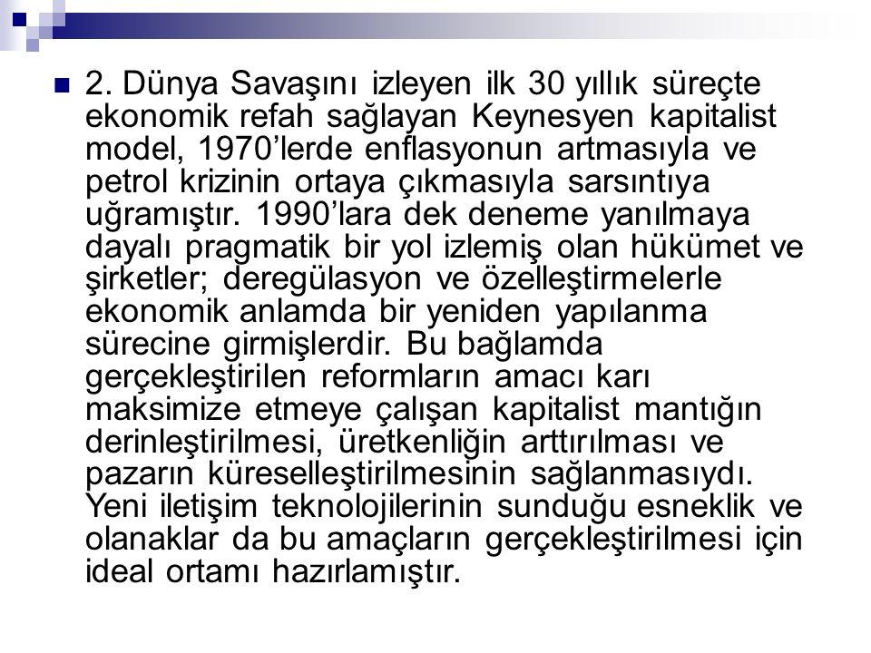 2. Dünya Savaşını izleyen ilk 30 yıllık süreçte ekonomik refah sağlayan Keynesyen kapitalist model, 1970'lerde enflasyonun artmasıyla ve petrol krizin