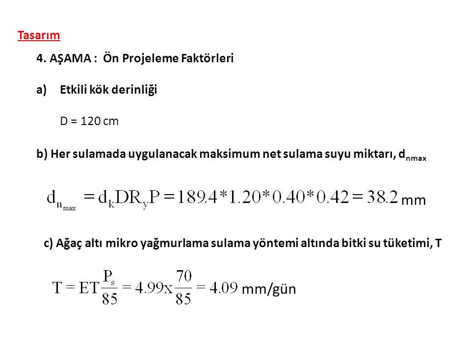 Tasarım 4. AŞAMA : Ön Projeleme Faktörleri a)Etkili kök derinliği D = 120 cm b) Her sulamada uygulanacak maksimum net sulama suyu miktarı, d nmax mm c
