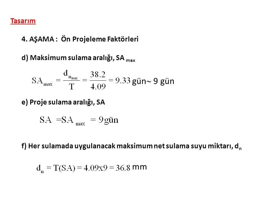 Tasarım 4. AŞAMA : Ön Projeleme Faktörleri d) Maksimum sulama aralığı, SA max e) Proje sulama aralığı, SA gün  9 gün mm f) Her sulamada uygulanacak m