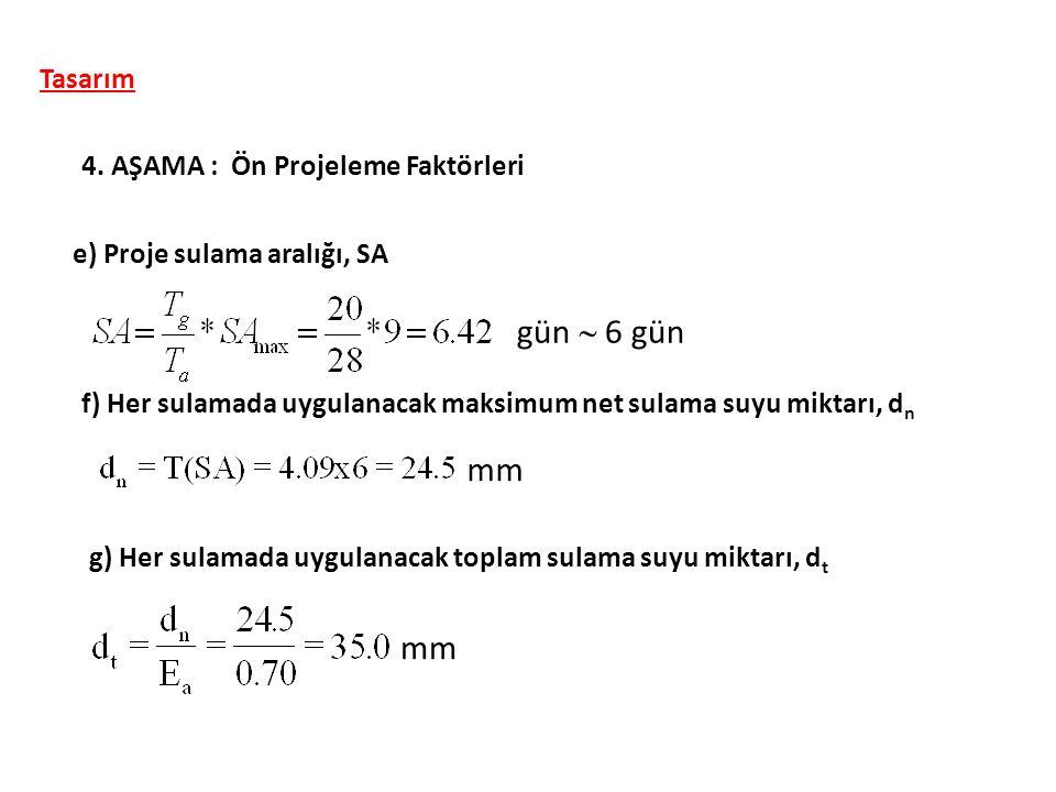 Tasarım 4. AŞAMA : Ön Projeleme Faktörleri e) Proje sulama aralığı, SA mm f) Her sulamada uygulanacak maksimum net sulama suyu miktarı, d n g) Her sul