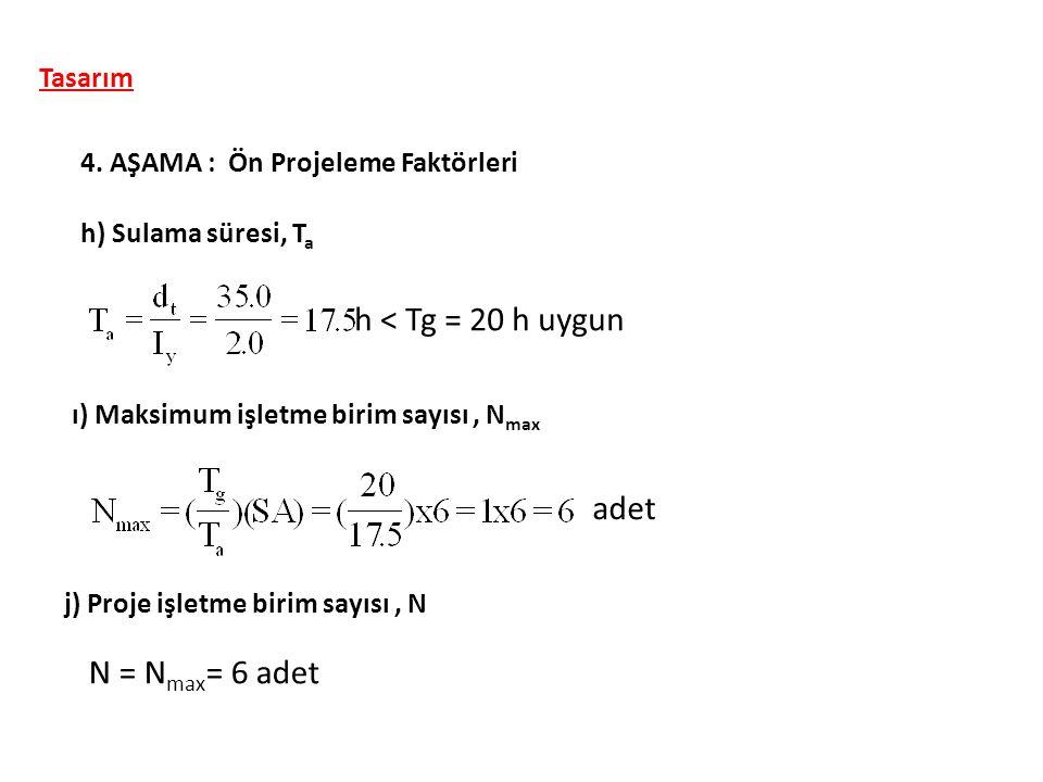 Tasarım 4. AŞAMA : Ön Projeleme Faktörleri h) Sulama süresi, T a ı) Maksimum işletme birim sayısı, N max h < Tg = 20 h uygun adet j) Proje işletme bir