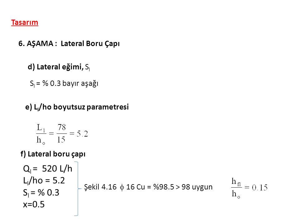 Tasarım 6. AŞAMA : Lateral Boru Çapı d) Lateral eğimi, S l S l = % 0.3 bayır aşağı e) L l /ho boyutsuz parametresi f) Lateral boru çapı Q l = 520 L/h