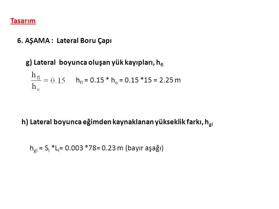 Tasarım 6. AŞAMA : Lateral Boru Çapı g) Lateral boyunca oluşan yük kayıpları, h fl h) Lateral boyunca eğimden kaynaklanan yükseklik farkı, h gl h fl =