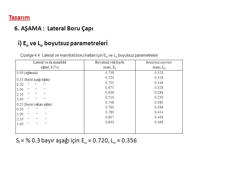 i) E o ve L o boyutsuz parametreleri 6. AŞAMA : Lateral Boru Çapı Lateral ya da manifold eğimi, S (%) Boyutsuz yük kaybı oranı, E o Boyutsuz uzunluk o