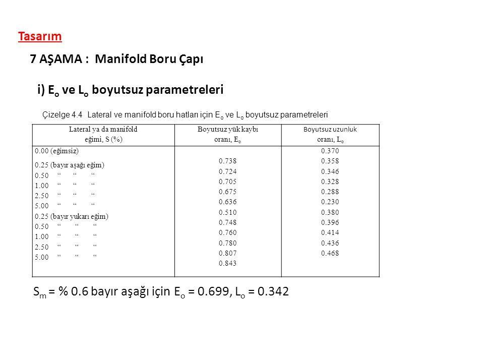 i) E o ve L o boyutsuz parametreleri 7 AŞAMA : Manifold Boru Çapı Lateral ya da manifold eğimi, S (%) Boyutsuz yük kaybı oranı, E o Boyutsuz uzunluk o