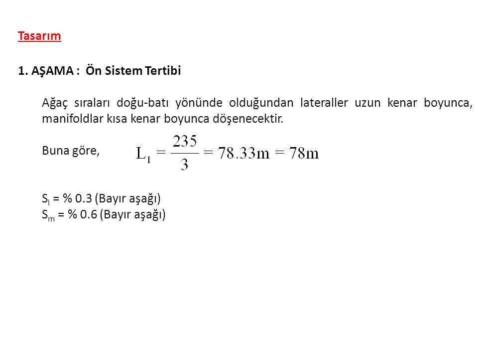 i) E o ve L o boyutsuz parametreleri 7 AŞAMA : Manifold Boru Çapı Lateral ya da manifold eğimi, S (%) Boyutsuz yük kaybı oranı, E o Boyutsuz uzunluk oranı, L o 0.00 (eğimsiz) 0.25 (bayır aşağı eğim) 0.50 1.00 2.50 5.00 0.25 (bayır yukarı eğim) 0.50 1.00 2.50 5.00 0.738 0.724 0.705 0.675 0.636 0.510 0.748 0.760 0.780 0.807 0.843 0.370 0.358 0.346 0.328 0.288 0.230 0.380 0.396 0.414 0.436 0.468 Çizelge 4.4 Lateral ve manifold boru hatları için E o ve L o boyutsuz parametreleri S m = % 0.6 bayır aşağı için E o = 0.699, L o = 0.342 Tasarım