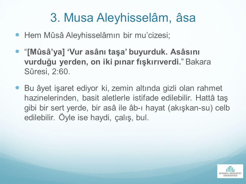 "3. Musa Aleyhisselâm, âsa Hem Mûsâ Aleyhisselâmın bir mu'cizesi; ""[Mûsâ'ya] 'Vur asânı taşa' buyurduk. Asâsını vurduğu yerden, on iki pınar fışkırıver"