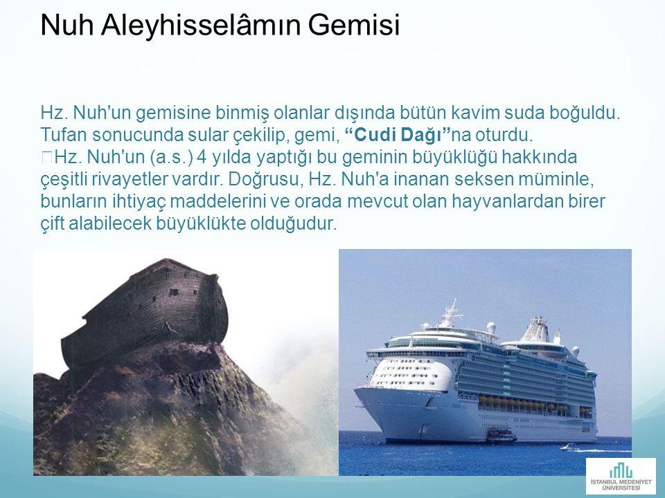"""Hz. Nuh'un gemisine binmiş olanlar dışında bütün kavim suda boğuldu. Tufan sonucunda sular çekilip, gemi, """"Cudi Dağı""""na oturdu. Hz. Nuh'un (a.s.) 4 yı"""