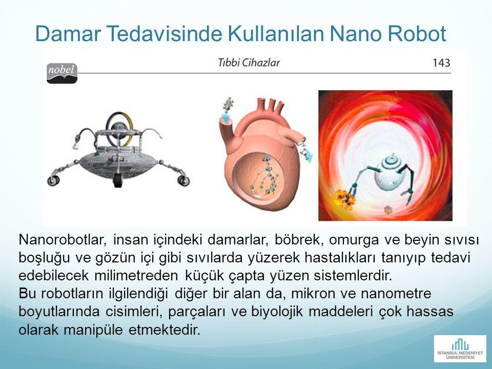 Damar Tedavisinde Kullanılan Nano Robot Nanorobotlar, insan içindeki damarlar, böbrek, omurga ve beyin sıvısı boşluğu ve gözün içi gibi sıvılarda yüze