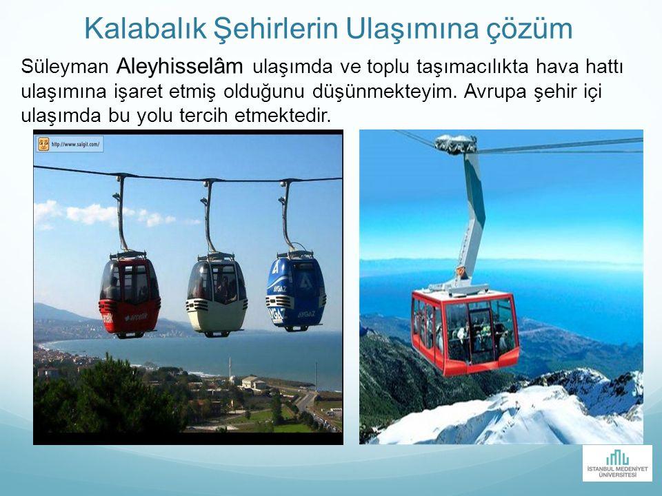 Kalabalık Şehirlerin Ulaşımına çözüm Süleyman Aleyhisselâm ulaşımda ve toplu taşımacılıkta hava hattı ulaşımına işaret etmiş olduğunu düşünmekteyim. A