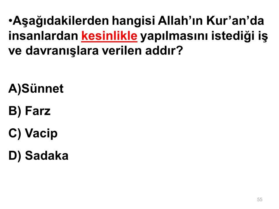 Aşağıdaki kelimeler gruplandırıl- dığında hangisi dışarıda kalır? A)Kurban B Mihrap C) Minber D) Kürsü 54