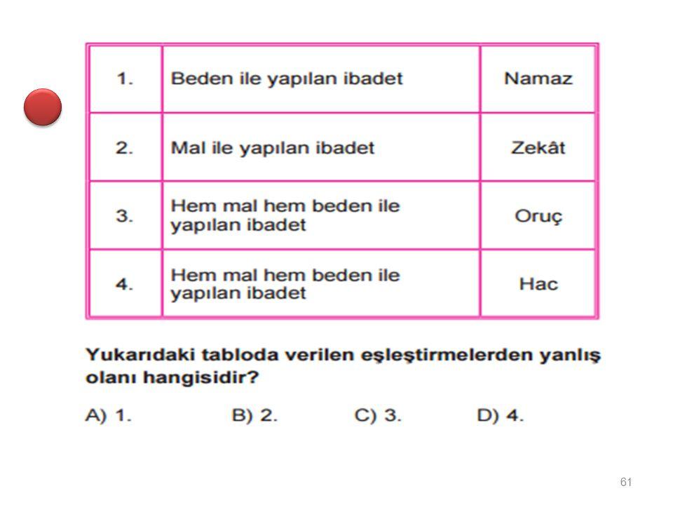 Müslümanların toplu halde namaz kıldıkları büyük yapılara ne ad verilir? A) Kilise B) Medrese C) Cami D) Sinagog 60