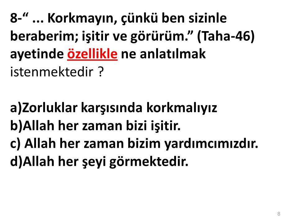 6-- Allah'ın bir olduğuna eşi, benzeri ve dengi olmadığına inanmaya.........