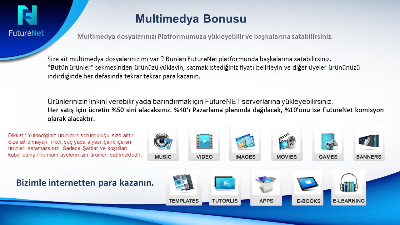 Multimedya Bonusu Multimedya dosyalarınızı Platformumuza yükleyebilir ve başkalarına satabilirsiniz.