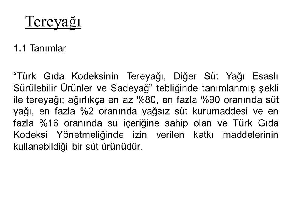"""Tereyağı 1.1 Tanımlar """"Türk Gıda Kodeksinin Tereyağı, Diğer Süt Yağı Esaslı Sürülebilir Ürünler ve Sadeyağ"""" tebliğinde tanımlanmış şekli ile tereyağı;"""