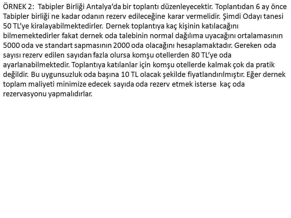 ÖRNEK 2: Tabipler Birliği Antalya'da bir toplantı düzenleyecektir. Toplantıdan 6 ay önce Tabipler birliği ne kadar odanın rezerv edileceğine karar ver