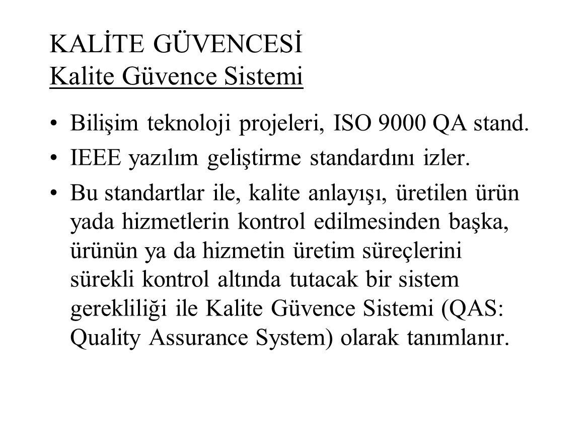 KALİTE GÜVENCESİ Kalite Güvence Sistemi Bilişim teknoloji projeleri, ISO 9000 QA stand. IEEE yazılım geliştirme standardını izler. Bu standartlar ile,