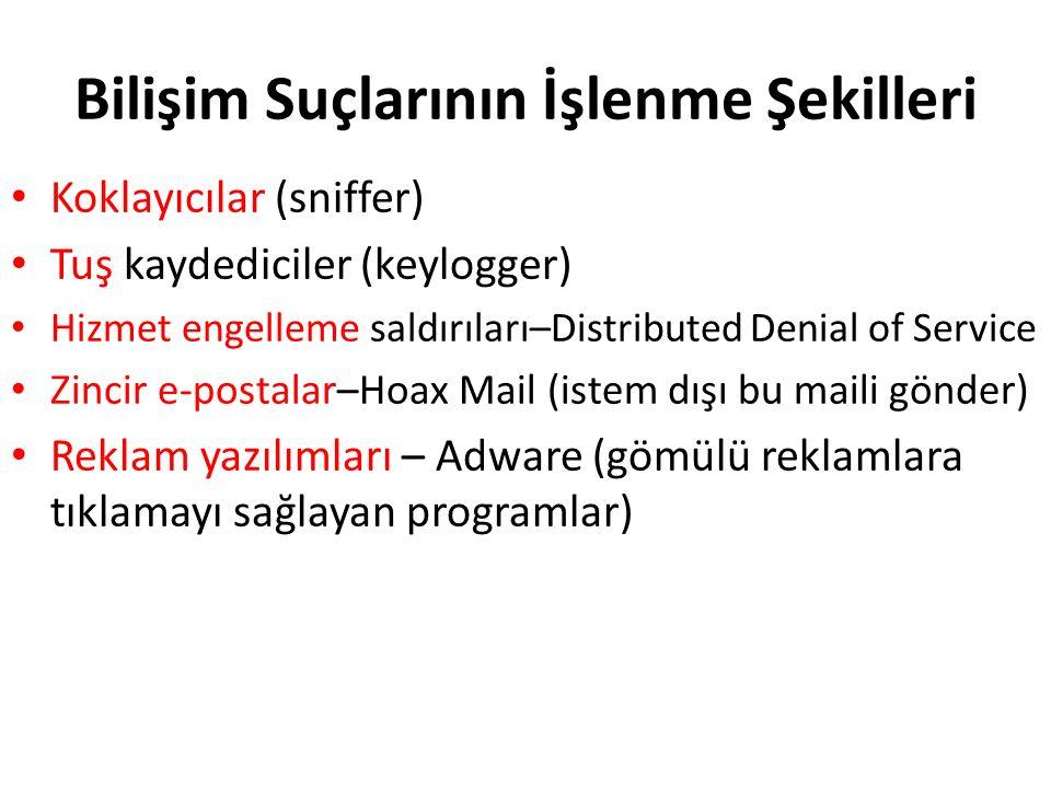 Bilişim Suçlarının İşlenme Şekilleri Koklayıcılar (sniffer) Tuş kaydediciler (keylogger) Hizmet engelleme saldırıları–Distributed Denial of Service Zincir e-postalar–Hoax Mail (istem dışı bu maili gönder) Reklam yazılımları – Adware (gömülü reklamlara tıklamayı sağlayan programlar)