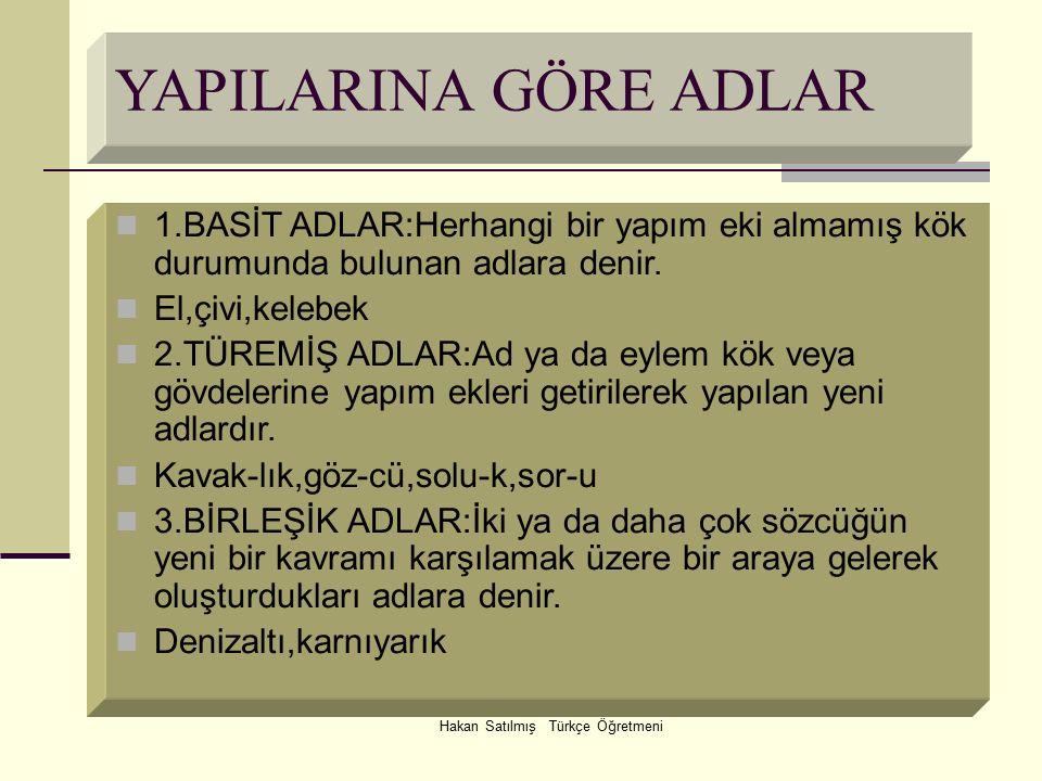 Hakan Satılmış Türkçe Öğretmeni YAPILARINA GÖRE ADLAR 1.BASİT ADLAR:Herhangi bir yapım eki almamış kök durumunda bulunan adlara denir. El,çivi,kelebek