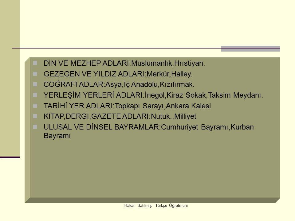 Hakan Satılmış Türkçe Öğretmeni DİN VE MEZHEP ADLARI:Müslümanlık,Hrıstiyan.