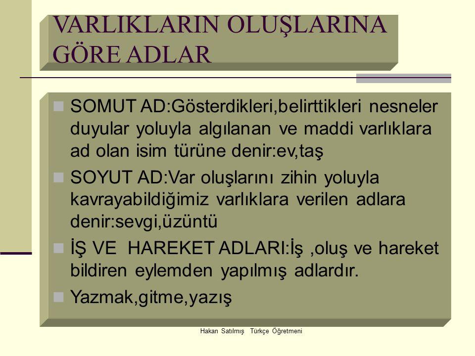 Hakan Satılmış Türkçe Öğretmeni VARLIKLARIN OLUŞLARINA GÖRE ADLAR SOMUT AD:Gösterdikleri,belirttikleri nesneler duyular yoluyla algılanan ve maddi var