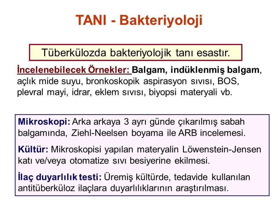 TANI - Bakteriyoloji Mikroskopi: Arka arkaya 3 ayrı günde çıkarılmış sabah balgamında, Ziehl-Neelsen boyama ile ARB incelemesi. Kültür: Mikroskopisi y