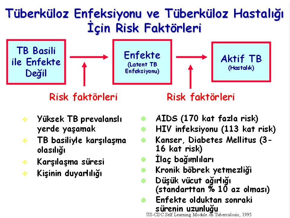 5 yaş altındaki çocuklar Yaşlılar HIV enfeksiyonu olan kişiler Bağışıklığı baskılayan tedavi alan kişiler Silikoz, diabetes mellitus, kronik böbrek yetmezliği, lösemi, lenfoma ya da baş-boyun kanseri, akciğer kanseri olanlar Sigara içenler, ilaç bağımlılığı olanlar ya da alkol kullananlar Tüberküloz Enfeksiyonunun Tüberküloz Hastalığına Dönüşmesini Kolaylaştıran Durumlar