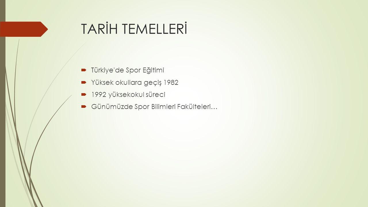 Bilim Temelleri  Spor Bilimlerinin Ülkemizdeki Gelişimi  Türkiye'de Spor Bilimlerinin Yapılanması Spor bilimlerinin multi disipliner yapısına uygun olarak alt boyutları; Spor bilimlerinin pedagojik-psikolojik- sosyal temelleri Spor yönetimi ve organizasyonu Spor bilimlerinin hareket, antrenman ve sağlık temelleri rekreasyon
