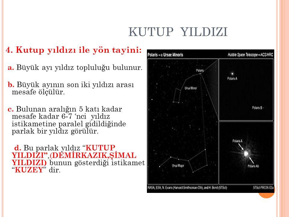 KUTUP YILDIZI 4. Kutup yıldızı ile yön tayini: a. Büyük ayı yıldız topluluğu bulunur. b. Büyük ayının son iki yıldızı arası mesafe ölçülür. c. Bulunan