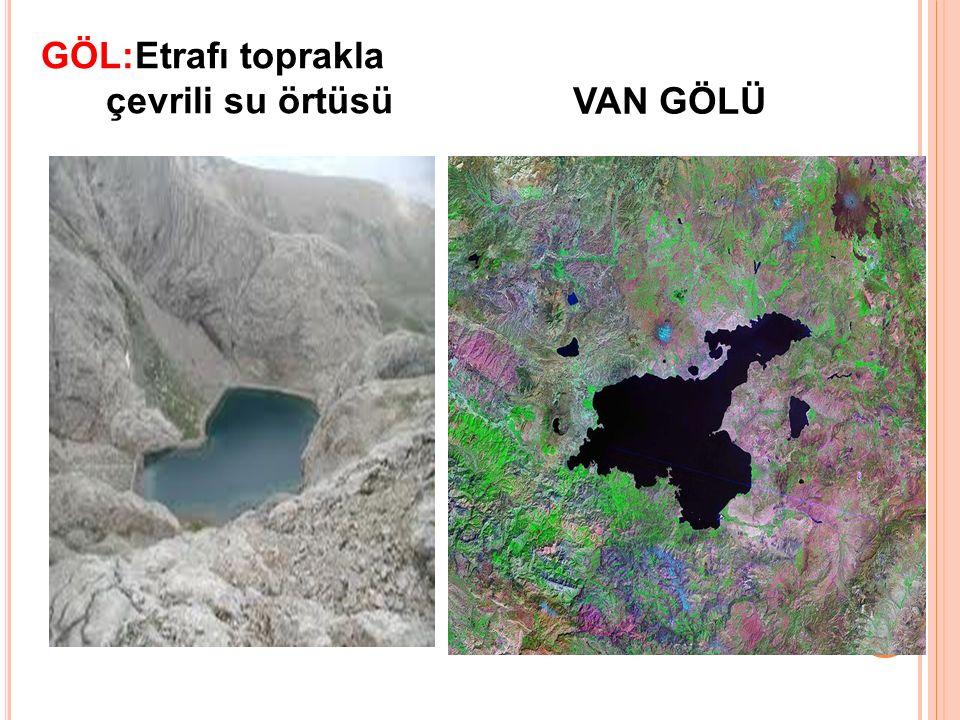 GÖL:Etrafı toprakla çevrili su örtüsü VAN GÖLÜ