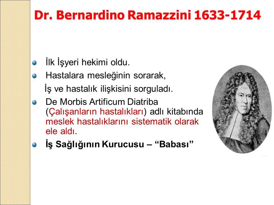 Dr. Bernardino Ramazzini 1633-1714 İlk İşyeri hekimi oldu.