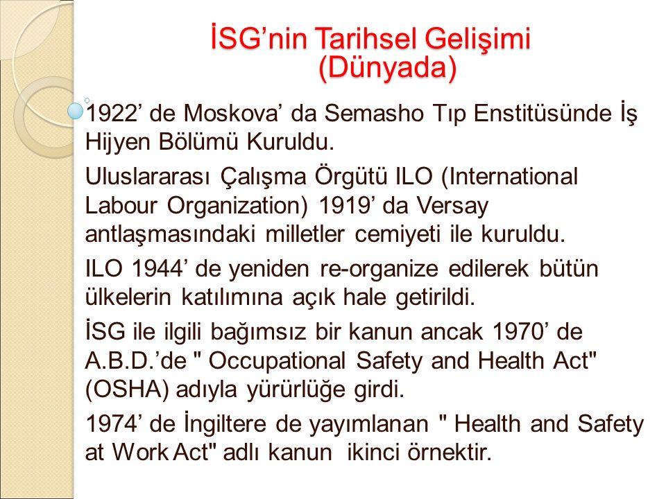 İSG'nin Tarihsel Gelişimi (Dünyada) 1922' de Moskova' da Semasho Tıp Enstitüsünde İş Hijyen Bölümü Kuruldu.