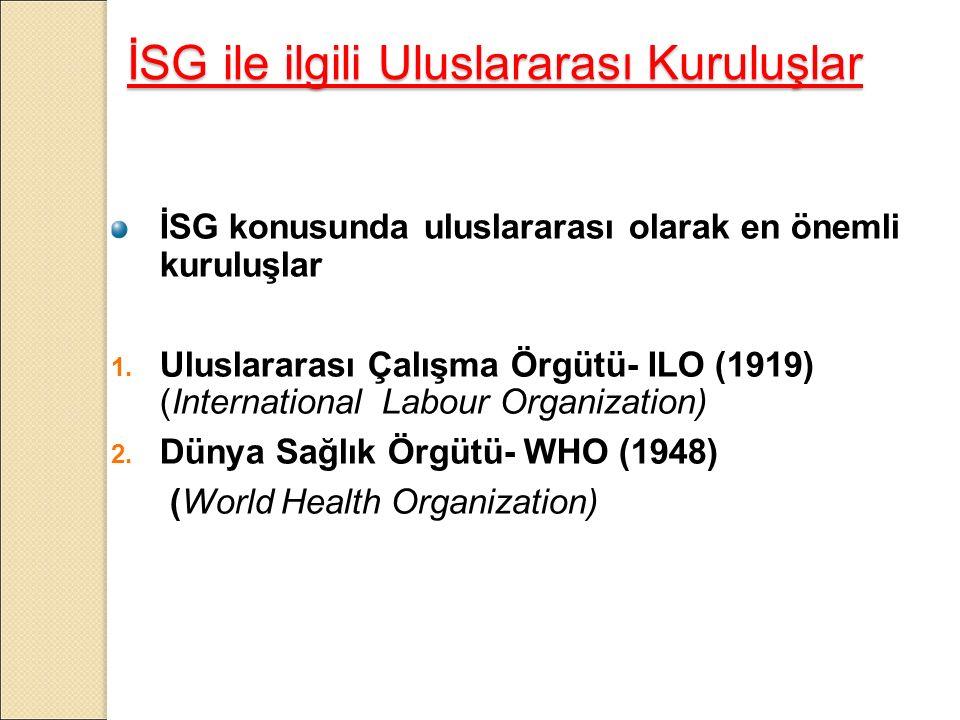 İSG ile ilgili Uluslararası Kuruluşlar İSG konusunda uluslararası olarak en önemli kuruluşlar 1.
