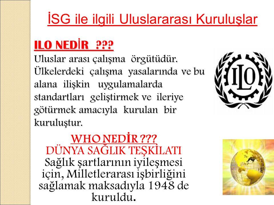 ILO NED İ R . Uluslar arası çalı ş ma örgütüdür.