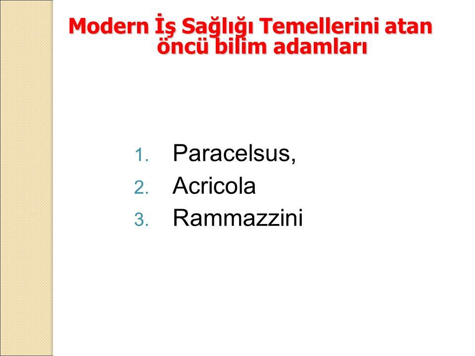 Modern İş Sağlığı Temellerini atan öncü bilim adamları 1. Paracelsus, 2. Acricola 3. Rammazzini