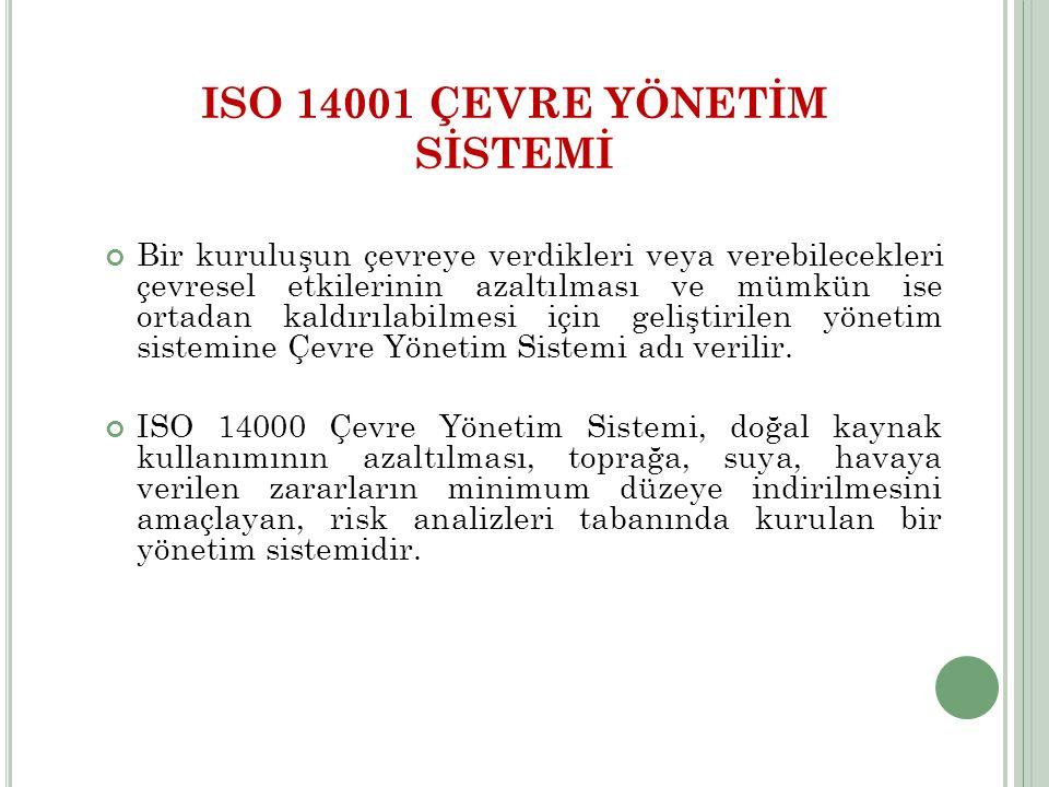 ISO 14001 ÇEVRE YÖNETİM SİSTEMİ Bir kuruluşun çevreye verdikleri veya verebilecekleri çevresel etkilerinin azaltılması ve mümkün ise ortadan kaldırıla
