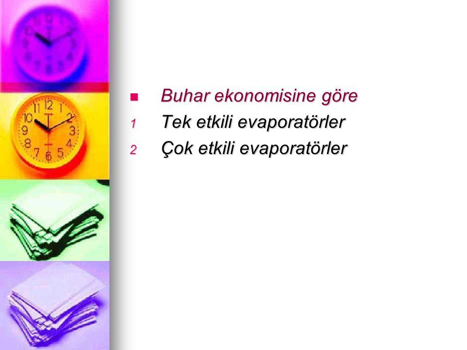 Buhar ekonomisine göre Buhar ekonomisine göre 1 Tek etkili evaporatörler 2 Çok etkili evaporatörler