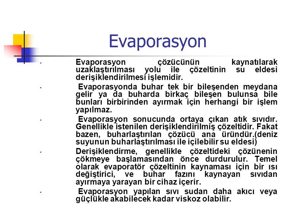 Evaporasyon Evaporasyon çözücünün kaynatılarak uzaklaştırılması yolu ile çözeltinin su eldesi derişiklendirilmesi işlemidir. Evaporasyonda buhar tek b