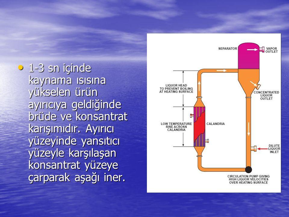 1-3 sn içinde kaynama ısısına yükselen ürün ayırıcıya geldiğinde brüde ve konsantrat karışımıdır. Ayırıcı yüzeyinde yansıtıcı yüzeyle karşılaşan konsa