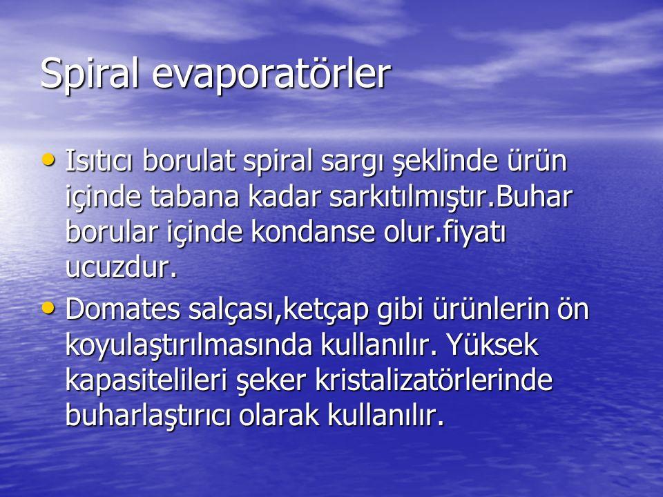 Spiral evaporatörler Isıtıcı borulat spiral sargı şeklinde ürün içinde tabana kadar sarkıtılmıştır.Buhar borular içinde kondanse olur.fiyatı ucuzdur.