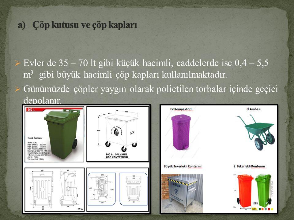 Evler de 35 – 70 lt gibi küçük hacimli, caddelerde ise 0,4 – 5,5 m 3 gibi büyük hacimli çöp kapları kullanılmaktadır.  Günümüzde çöpler yaygın olar