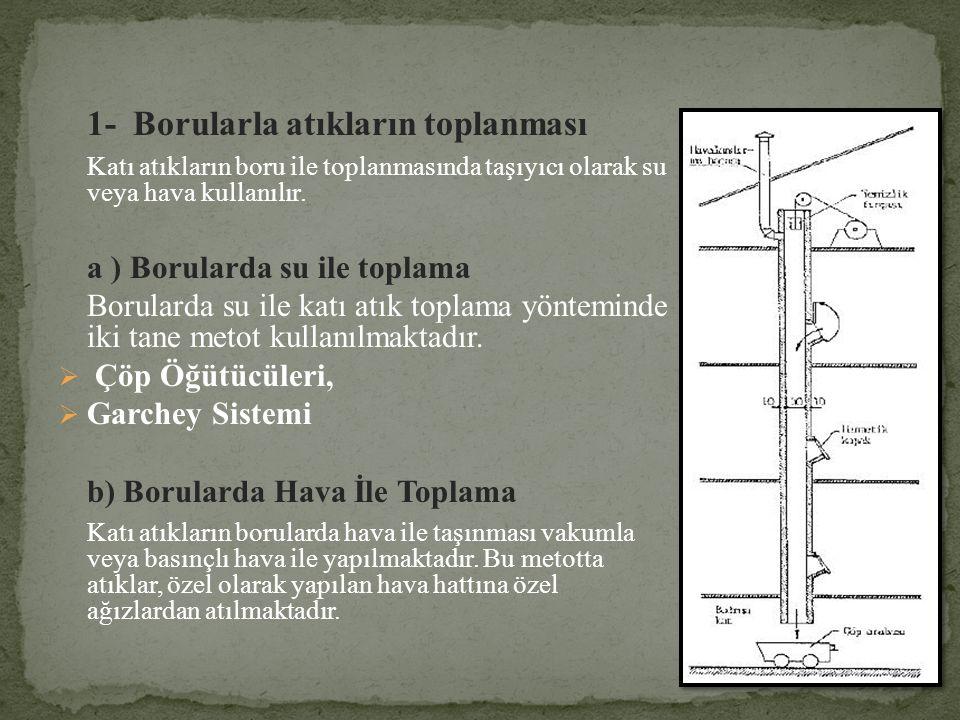 1- Borularla atıkların toplanması Katı atıkların boru ile toplanmasında taşıyıcı olarak su veya hava kullanılır. a ) Borularda su ile toplama Borulard