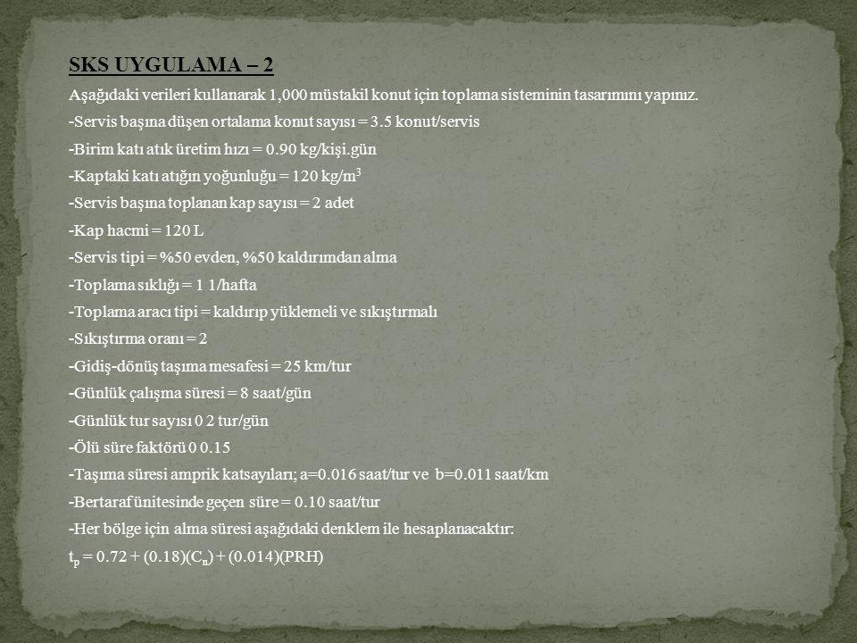 SKS UYGULAMA – 2 Aşağıdaki verileri kullanarak 1,000 müstakil konut için toplama sisteminin tasarımını yapınız. -Servis başına düşen ortalama konut sa