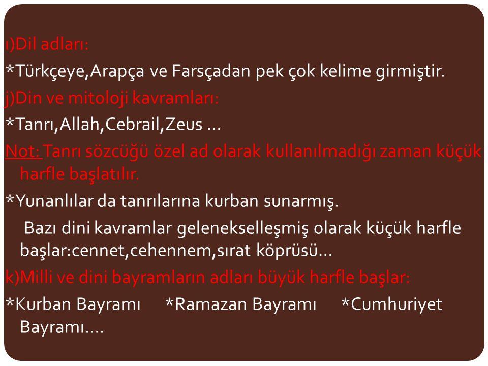ı)Dil adları: *Türkçeye,Arapça ve Farsçadan pek çok kelime girmiştir. j)Din ve mitoloji kavramları: *Tanrı,Allah,Cebrail,Zeus … Not: Tanrı sözcüğü öze