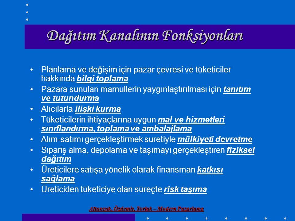 Altunışık, Özdemir, Torlak – Modern Pazarlama Dağıtım Kanalının Fonksiyonları Planlama ve değişim için pazar çevresi ve tüketiciler hakkında bilgi top
