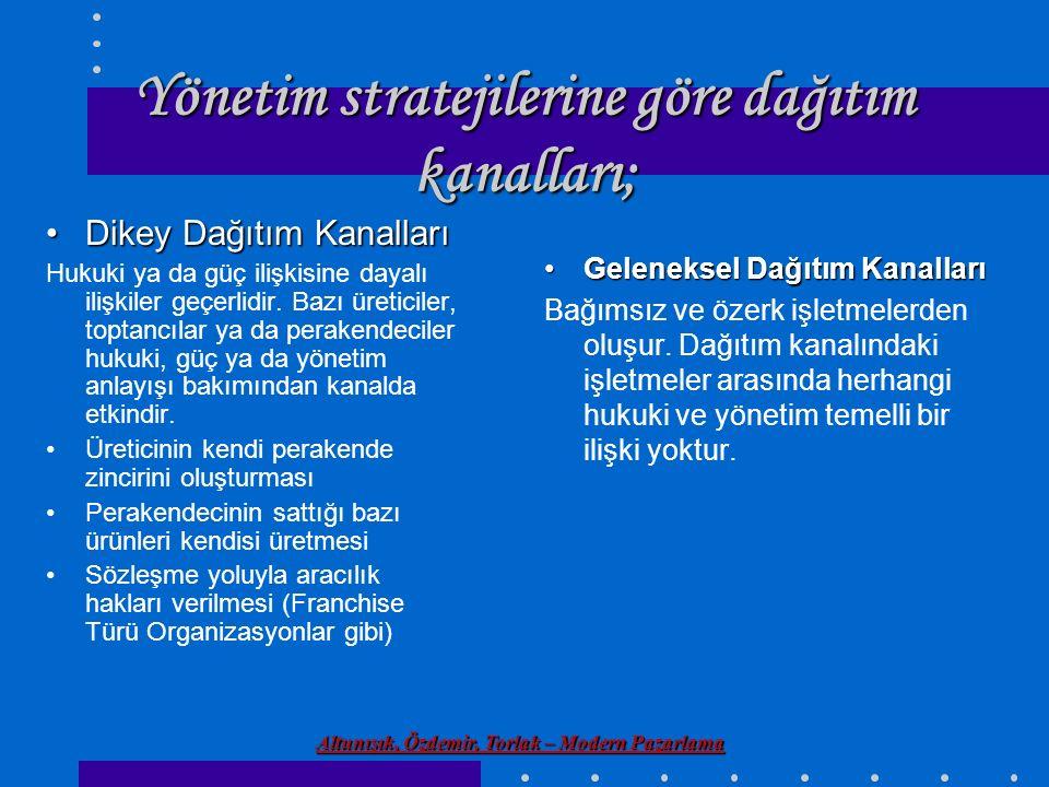 Altunışık, Özdemir, Torlak – Modern Pazarlama Yönetim stratejilerine göre dağıtım kanalları; Geleneksel Dağıtım KanallarıGeleneksel Dağıtım Kanalları