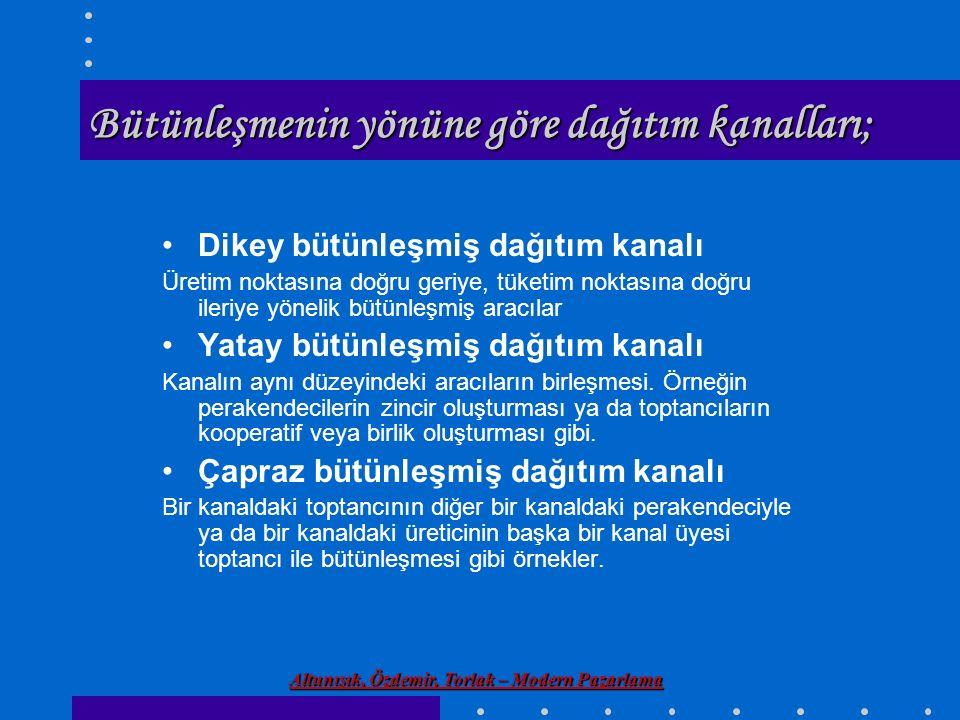 Altunışık, Özdemir, Torlak – Modern Pazarlama Bütünleşmenin yönüne göre dağıtım kanalları; Dikey bütünleşmiş dağıtım kanalı Üretim noktasına doğru ger